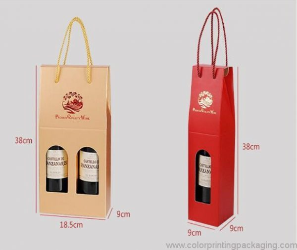 Cardboard Wine Box Foldable 2 Bottles Wine Gift Box With Window
