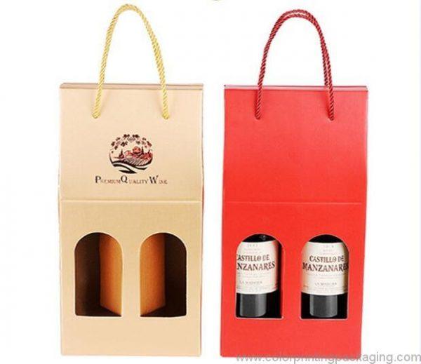 Cardboard Wine Box Foldable 2 Bottles Wine Gift Box With Window